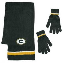 Green Bay Packers Chenille Scarf & Glove Set