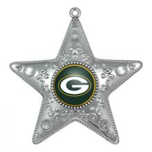 "Green Bay Packers 4"" Silver Star Ornament"