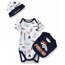 """Denver Broncos Infant """"Forever"""" Broncos Bodysuit, Bib and Cap Set"""