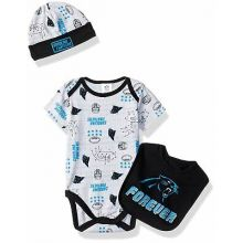 "Carolina Panthers  Infant ""Forever"" Panthers Bodysuit, Bib and Cap Set"