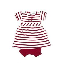 Alabama Crimson Tide Infant  Embroidered  Striped Dress and Diaper Cover