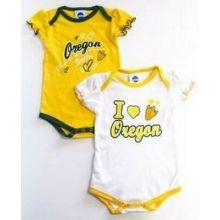 NCAA Officially Licensed Oregon Ducks Girls White And Green 2pk Bodysuit Creeper