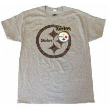 NFL Officially Licensed Pittsburgh Steelers Gray Shadow Logo T-Shirt