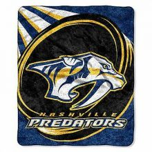 "Nashville Predators ""Puck"" Sherpa on Sherpa Throw Blanket, 50"" x 60"""