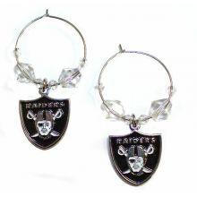 Oakland Raiders Beaded Hoop Earrings