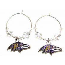 Baltimore Ravens Beaded Hoop Earrings