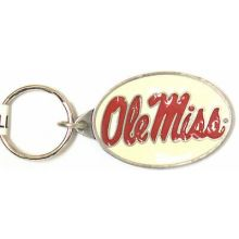 Ole Miss Rebels Oval Carved Metal Keychain