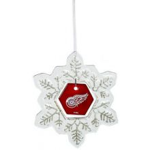 Detroit Red Wings Glass Snowflake Ornament