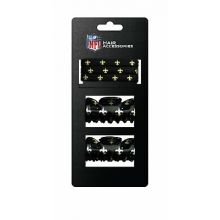 New Orleans Saints Hair Accessory 2-Hair Clips and 3-Elastic Ponytail Bands