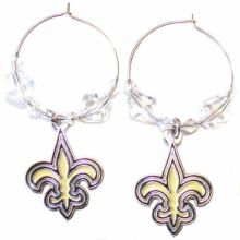 New Orleans Saints Beaded Hoop Earrings