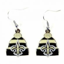 New Orleans Saints Beanie Style Dangle Earrings