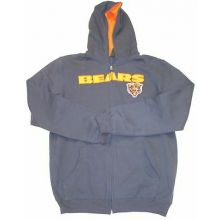 Chicago Bears YOUTH Bear Logo Embroidered Full Zip Hoodie Sweatshirt (X-Large (1