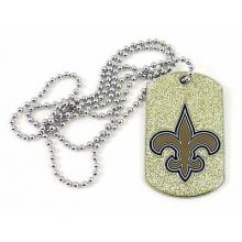 New Orleans Saints Glitter Dog Tag Necklace