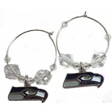 Seattle Seahawks Beaded Hoop Earrings