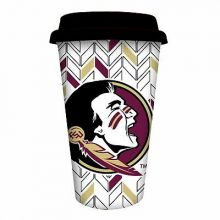 Florida State Seminoles Personalizable Ceramic Travel Coffee Mug, 10 ounces, wit