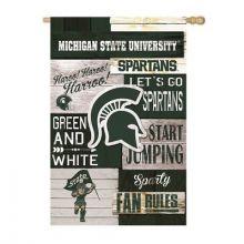 Michigan State Spartans Vertical Linen Fan Rules Garden Flag