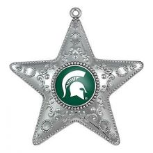 "Michigan State Spartans 4"" Silver Star Ornament"