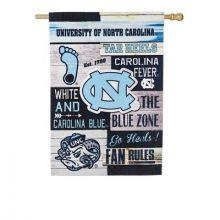 North Carolina Tar Heels Vertical Linen Fan Rules Garden Flag