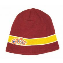 NBA Licensed Cleveland Cavaliers Striped Embroidered Beanie Hat Cap Lid