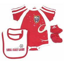 MLS Licensed Real Salt Lake 3 pc. Bodysuit, Bib and Bootie Set (3-6 Months)