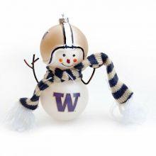 "Washington Huskies 6"" Blown Glass Snowman Ornament"