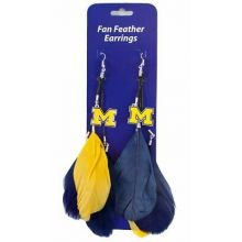Michigan Wolverines Fan Feather Earrings