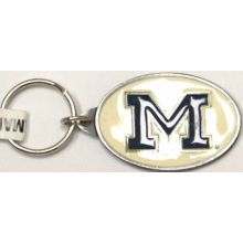 Michigan Wolverines Oval Carved Metal Keychain