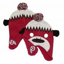 NCAA Licensed Utah Utes Girl's Size (7-16) Monkey Style Pom Beanie Hat Cap Lid (