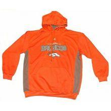 NFL Licensed Denver Broncos Orange and Gray Pullover Hooded Jacket