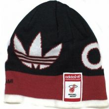 NBA Officially Licensed Miami Heat Stitched Logo Red Stripe Beanie Hat Cap Lid T