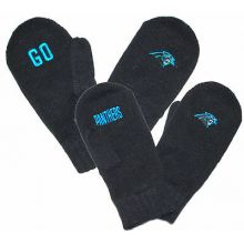 "NFL Licensed Carolina Panthers ""Go Team"" Embroidered YOUTH Knit Mittens"