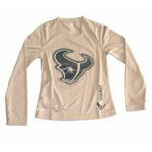 NHL Licensed Houston Texans Long Sleeve Girls YOUTH Dri Tek Shirt (Medium 10/12)
