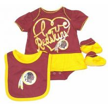 NFL Licensed Washington Redskins 3 pc. Bodysuit Creeper Crawler with Bib and Boo