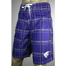 Kansas State Wildcats Plaid Board Shorts Swim Trunks
