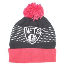 NBA Officially Licensed Brooklyn Nets Black Red Dotted Stripes Cuffed Pom Beanie Hat Cap Lid Skull