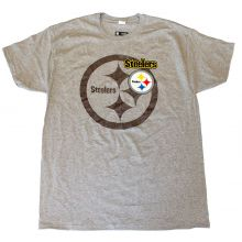 NFL Officially Licensed Pittsburgh Steelers Gray Shadow Logo T-Shirt (Medium)