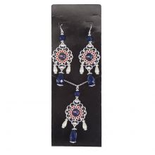 New England Patriots Baroque Necklace and Earring Set