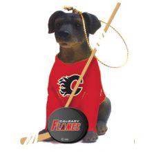 Calgary Flames Laborador Team Dog Ornament