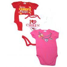 Kansas City Chiefs 2017 Girls 3 Piece  Bodysuit Set 6 Mo.