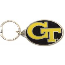 Georgia Tech Yellow Jackets Oval Carved Metal Keychain