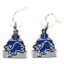 Detroit Lions Beanie Style Dangle Earrings