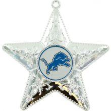 """Detroit Lions 4"""" Silver Star Ornament"""