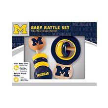 Michigan Wolverines Wooden Baby Rattle Set