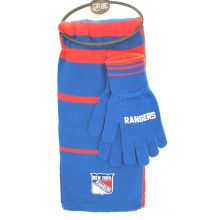 New York Rangers Striped Scarf and Glove Set