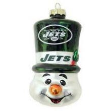 New York Jets Blown Glass Top Hat Snowman Ornament