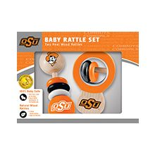Oklahoma State Cowboys Wooden Baby Rattle Set