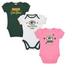 Green Bay Packers 2018 Girls 3 pk. Bodysuits 3-6 Months