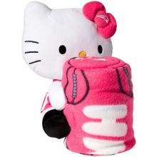 New England Patriots Hello Kitty Fleece Throw with Hugger, 40 x 50-inches