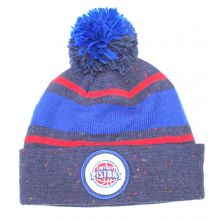 NBA Officially Licensed Detroit Pistons Navy Dual Stripe Cuffed  Pom Beanie