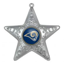 "Los Angeles Rams  4"" Silver Star Ornament"